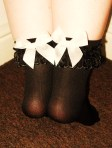 Black nylon socks with bows - £12 for 24hrs, £15 for 48hrs, £20 for 72hrs, £35 for 1 week wear